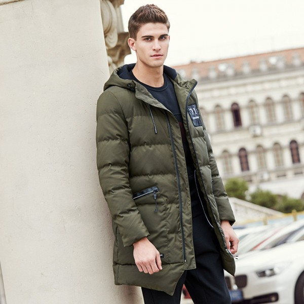 Buy Long thicken winter down jacket men brand clothing warm duck