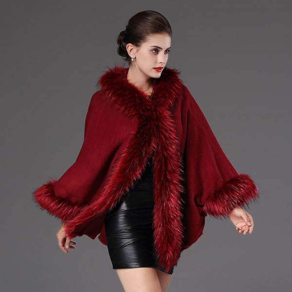 High Quality Autumn Winter Long Knitted Poncho Wool Cashmere Sweater