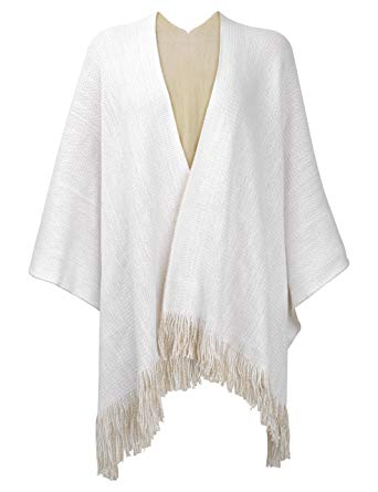 ZLYC Women's Reversible Winter Knitted Faux Cashmere Fringe Poncho