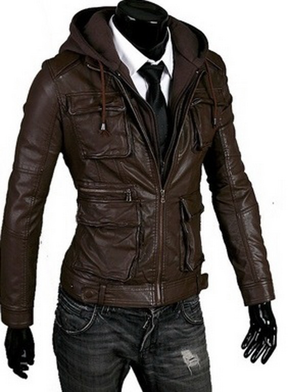 Handmade New Men Hooded Latest Winter Leather Jacket, Men Leather