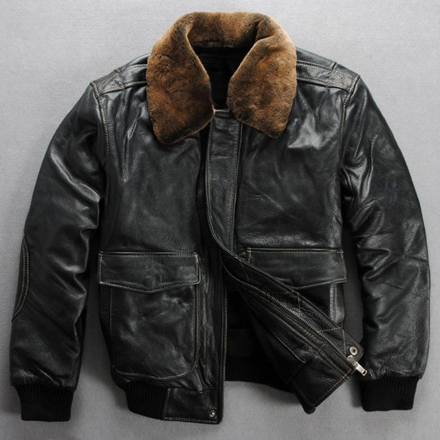 winter leather jacket men real fur collar leather bomber jacket men