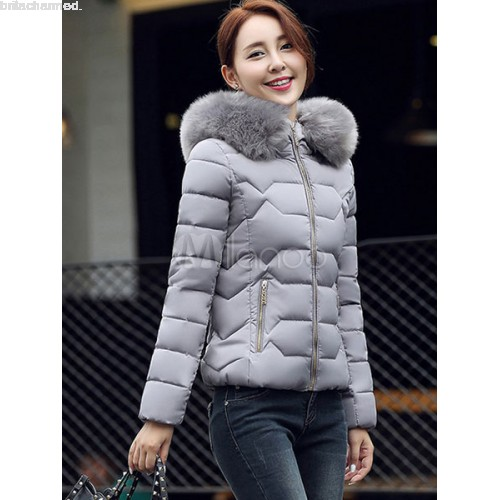 Women's Puffer Jacket Faux Fur Hooded Short Quilted Coat For Winter