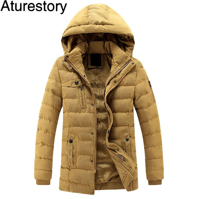 Aturestory Mens Overcoat Men Winter Quilted Coat Male Fashion Casual