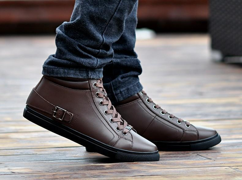 Handmade Genuine Leather Boots Warm Fur Plus Size Men Winter Shoes