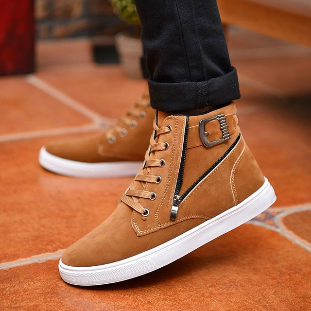 Hot 2019 Men Flock Leather Casual Shoes Korean Fashion Winter Autumn