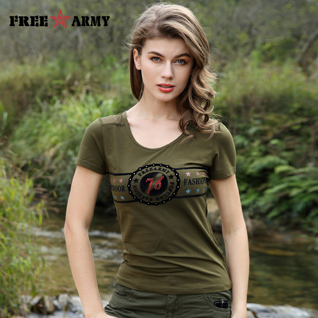 Free Army Military Slim Green Short Sleeve Women T-Shirt | Rhalyn's