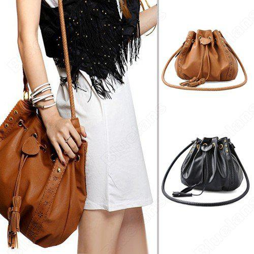 Shoulder Bags Women Lady Pu Leather Bucket Crossbody Messenger Bags