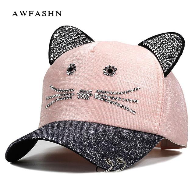 Women's Caps Flashing Rhinestone Baseball Cap With Cute Cat Ears