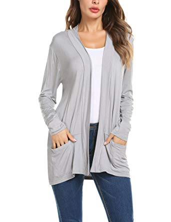 ZHENWEI Women's Cardigans Long Casual Sleeve Loose Open Front