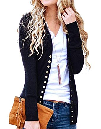 Hisweet Women's Cardigans Long Sleeve Button Down Knitting Ribbed