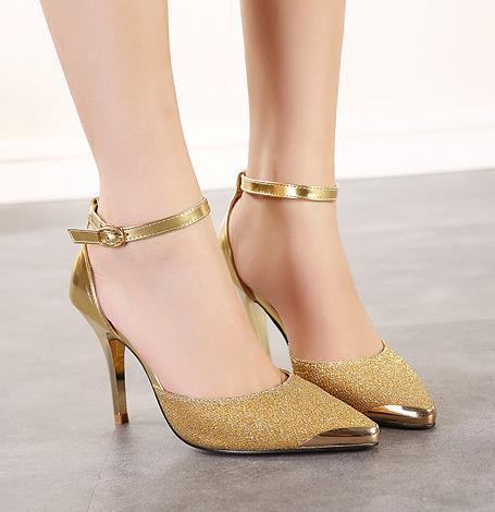 Celeb style ankle strap metal pointed toe color match sandals