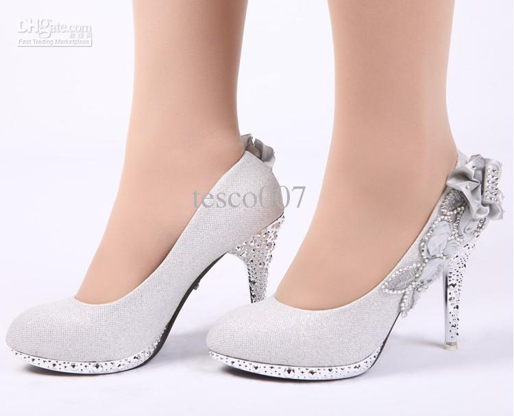 Hot Sales Women'S Fashion High Heeled Shoes Silver Flowers Bride