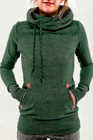 Stylish Hooded Long Sleeve Pocket Design Embroidered Women's Hoodie