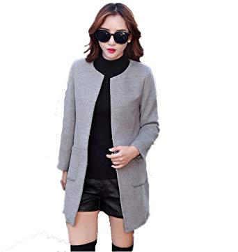 Amazon.com: Women Woolen Coats O-Neck Wide-Waisted Women Winter