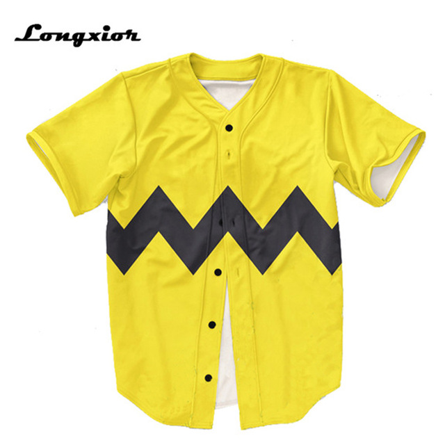 yellow Mens Buttons Homme Baseball Jersey US size 3D black stripe