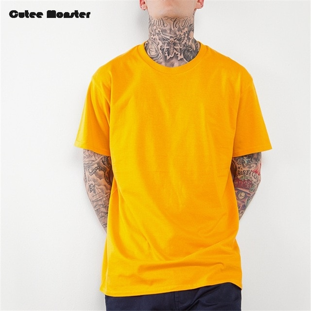 Solid T shirt Men 2018 Summer yellow Mens Hip Hop Tshirts Extended