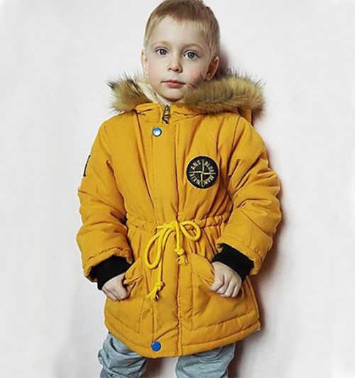 New Product Unisex Yellow Parkas for Boys Girls Hooded Winter Coats