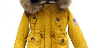 Yellow Jacket for Boys and Girls Large Fur Hooded Winter Coats for