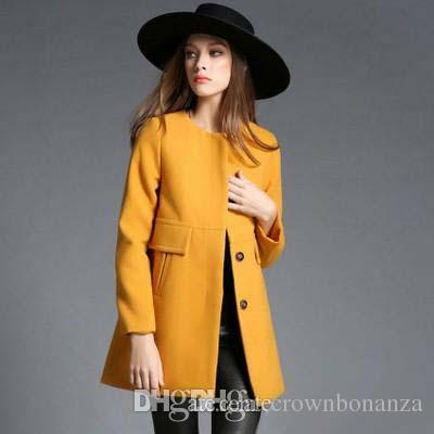2019 New Fashion Winter Wool Coats Womens Elegant Yellow Long Woolen