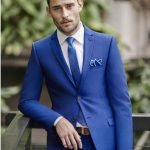 Blue wedding suits are a perfect match for a spring wedding