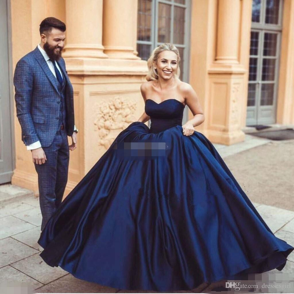 2017 High Quality Ball Gown Navy Blue Evening Dresses Sexy Sweetheart  Ruched Floor Length Puffy Formal Prom Dresses Dress Evening Dress Womens  From ...