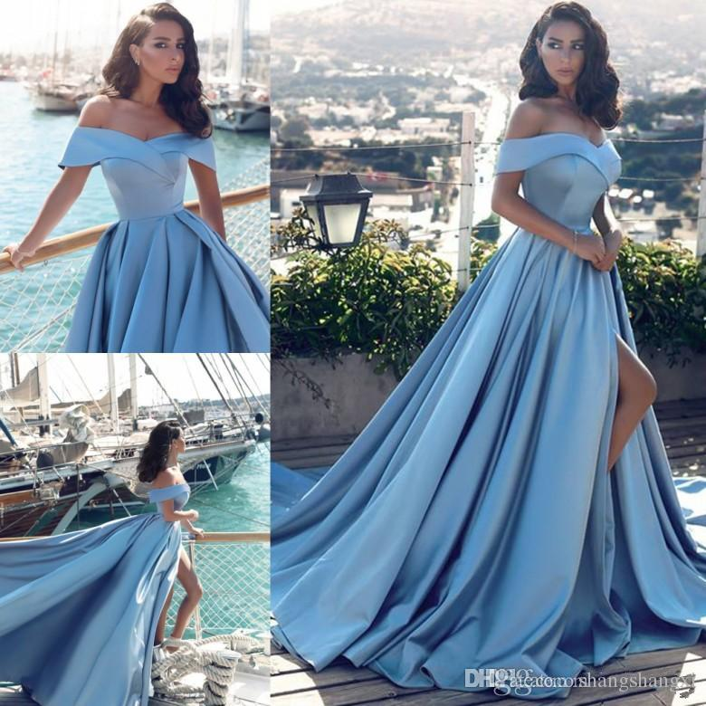 Sexy Prom Dresses, light blue Evening Dresses,New Fashion Prom  Gowns,Elegant Prom Dress,Evening Gowns,slit Evening Gown