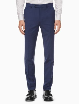 x-fit solid slim fit blue suit pants
