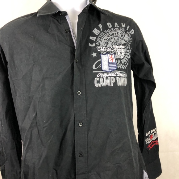 Camp David medium button front graphic shirt