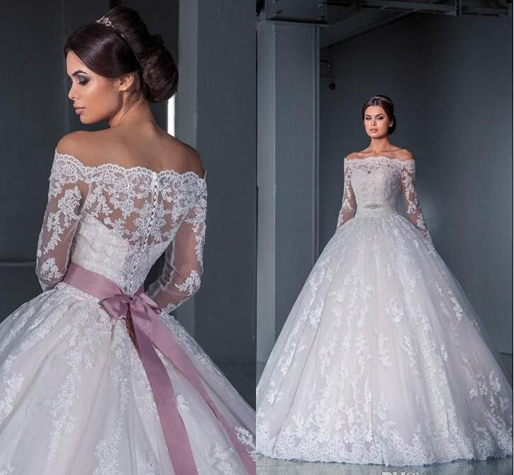 Discount Luxurious Ball Gown Princess Lace Wedding Dresses 2016 New Off The  Shoulder Long Sleeves Chapel Train Tulle Appliques Beads Bridal Gowns  Wedding