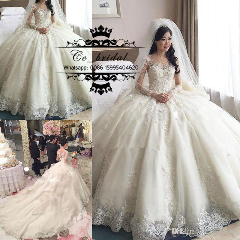 Luxury Princess Ball Gown Lace Wedding Dresses With Cathedral Train 2016  Long Sleeves Brisal Gowns Sexy See Through Back Vestido De Novias Ball Gown  Wedding