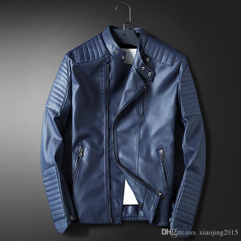 Hot Selling Mens Blue Leather Jackets For Men Slim Fit Red Casual Coat  Hombre Moto Jacket Blue Faux Leather Trench Coat Windbreaker Mens Coat  Brands Tan