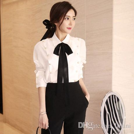 2019 Korean Office Blouses Women Long Sleeve Tie Bow Shirt Cheap Business  Shirts Slim Tops High Quality From Linani, $36.86 | Traveller Location