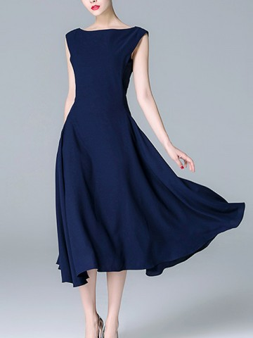 Navy Blue Solid Color Cinched Waist Midi Dress