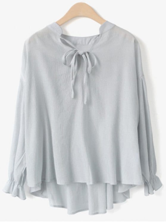 35% OFF] 2019 Long Sleeve V Neck Chiffon Blouse In LIGHT GRAY ONE