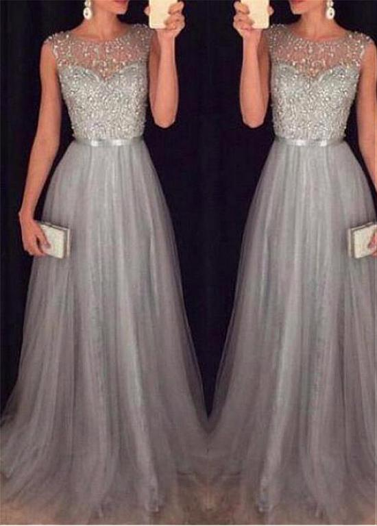 Buy discount Glamorous Tulle Jewel Neckline A-line Evening Dresses