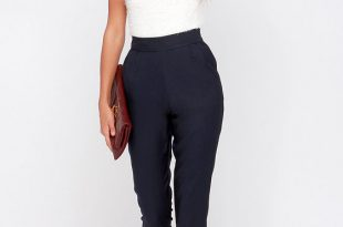 Chic Navy Blue Pants - High Waisted Pants - Blue Trousers - $37.00