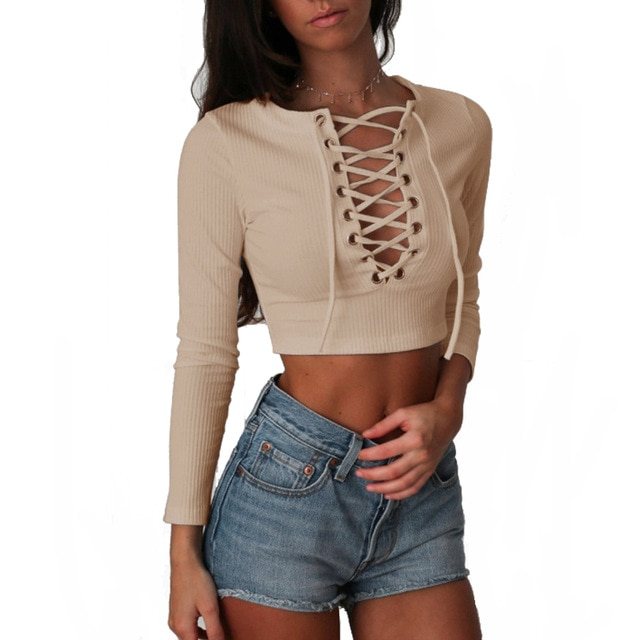 Nadafair Long Sleeve Laced Up Criss Cross Short T Shirt White Black
