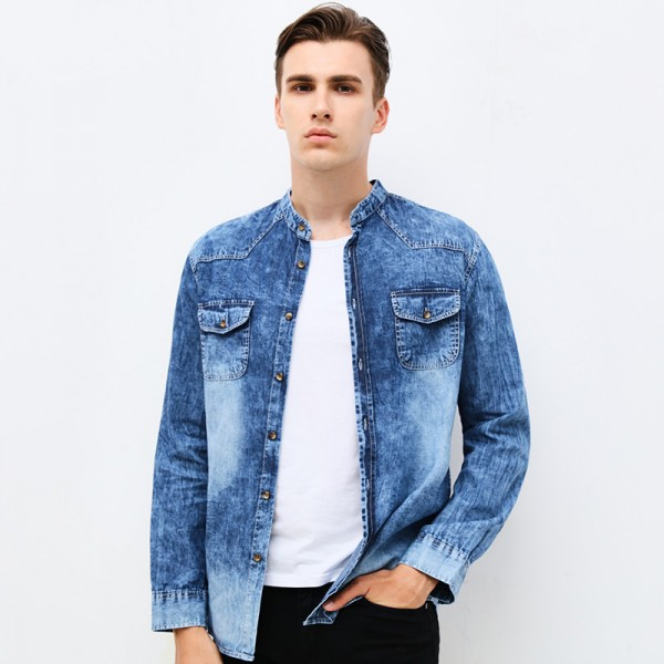 Buy Clothing Mens Denim Shirt Long Sleeve Mandarin Collar Slim Fit