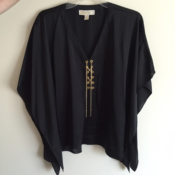 Michael Kors Tops | Black Silk Blouse With Gold Chains | Poshmark