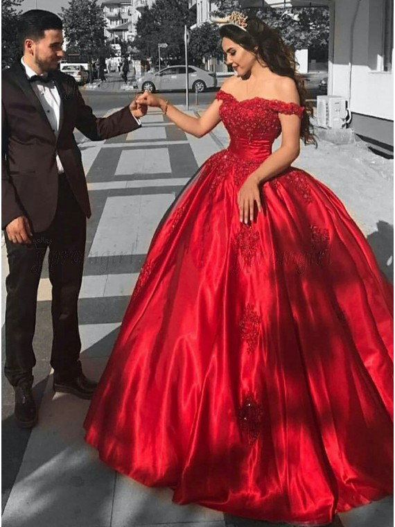Buy Ball Gown Off-the-Shoulder Sweep Train Red Prom Dress with