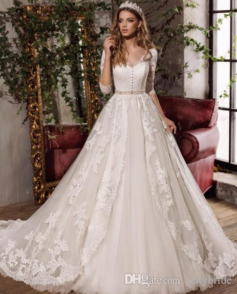 Discount Romantic Lace Tulle Wedding Gowns 2019 Pretty A Line Formal