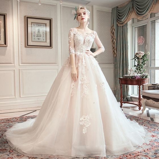 Romantic Champagne See-through Wedding Dresses 2019 A-Line