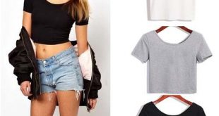 Summer Sexy Crop Top Ladies Short Sleeve t shirt women tops Basic