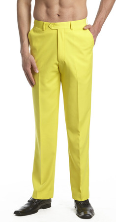 The yellow pants are very trendy